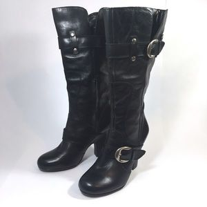 Arturo Chiang Tall Harness Boots Black Leather 10